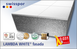 Swisspor EPS 031 LAMBDA WHITE fasada - szary styropian z białą powłoką ochornną
