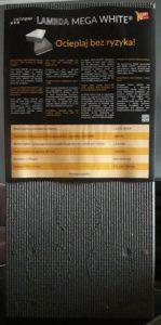 LAMBDA MEGA WHITE FASADA - strona wewnętrzna styropianu z owijką Swisspor z owijką producenta Swisspor